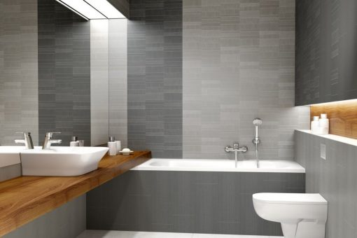 Bathroom fitted with small brick wall panels