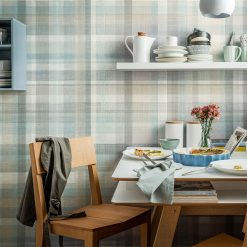 Room decorated with tartan blue wall panels